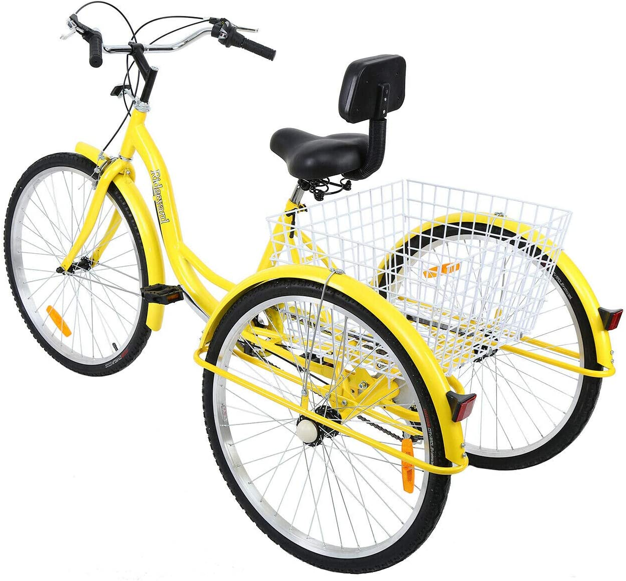 Iglobalbuy 26 Inch Adult Tricycles Series 7 Speed 3 Wheel Bikes for Adult Tricycle Trike Cruise Bike Large Size Basket for Recreation Shopping,Exercise Mens Womens Bike