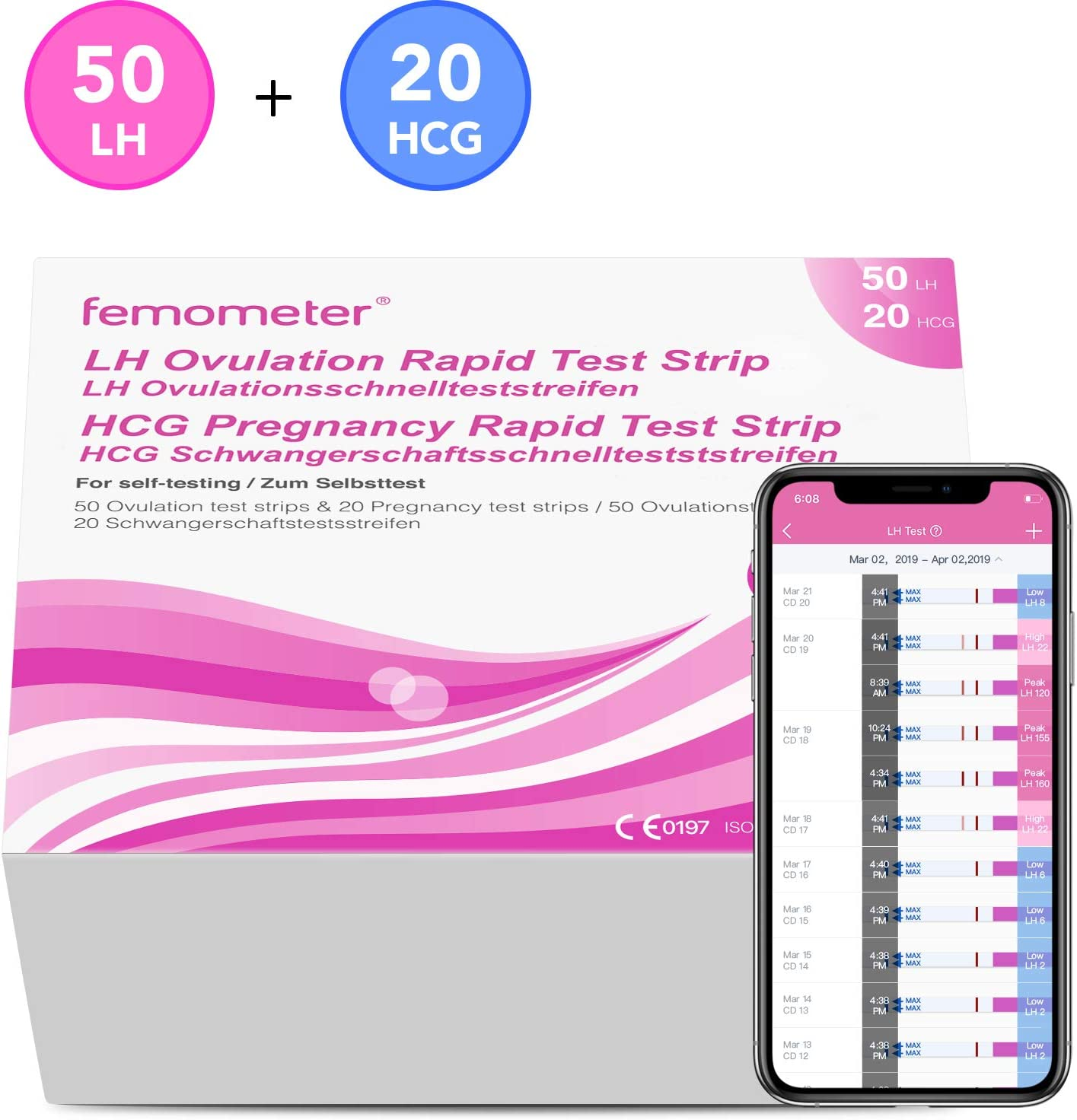 Femometer 50 x test di ovulazione + 20 test di gravidanza, Combinato con app (iOS & Android), Monitoraggio Attendibile del Ciclo e del Periodo Fertile