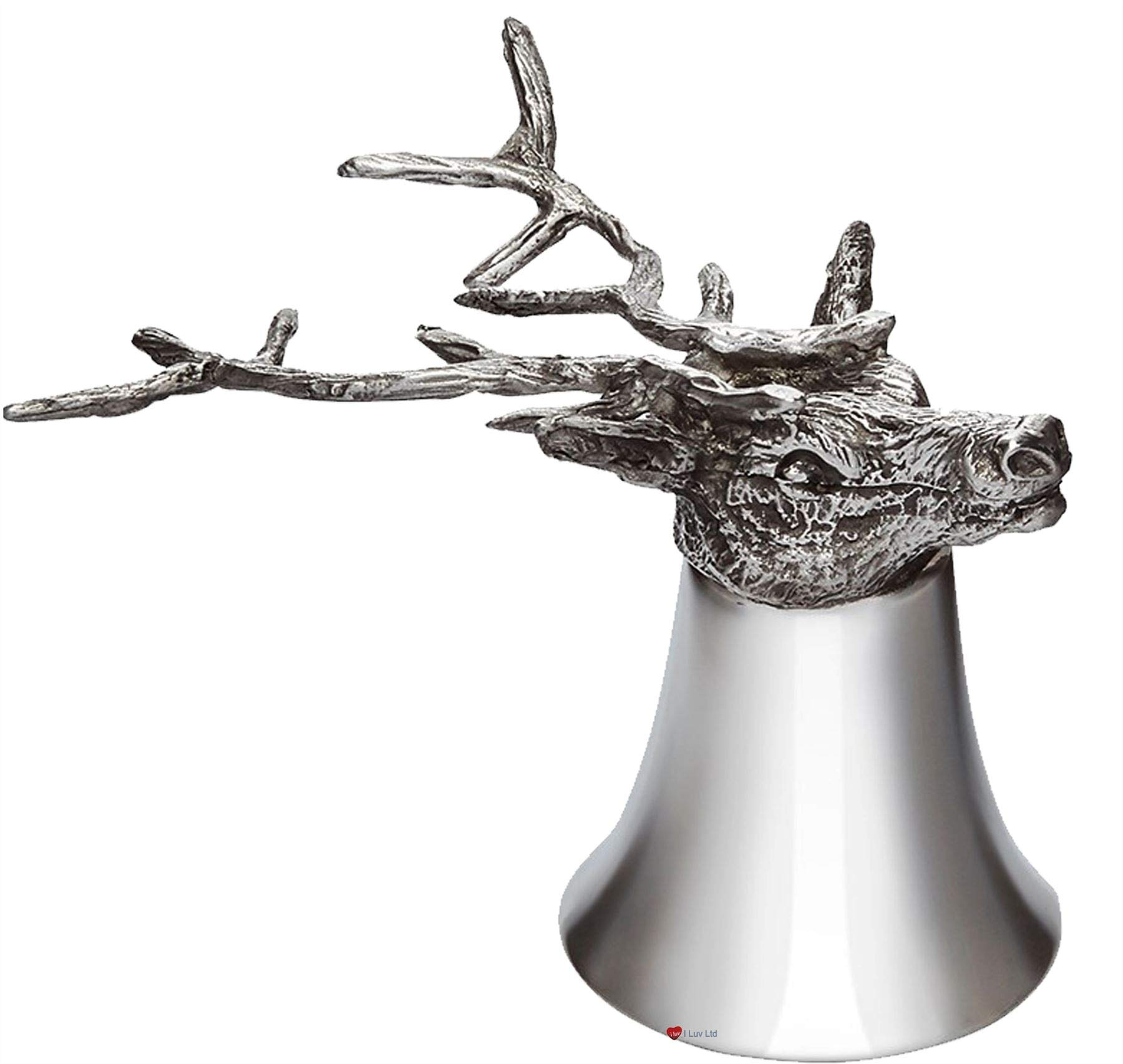 Pewter Jigger Measure or Stirrup Cup with Stag Head - 3 oz