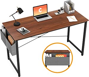 "Cubiker Writing Computer Desk 39"" Home Office Study Desk, Modern Simple Style Laptop Table with Storage Bag, Espresso"