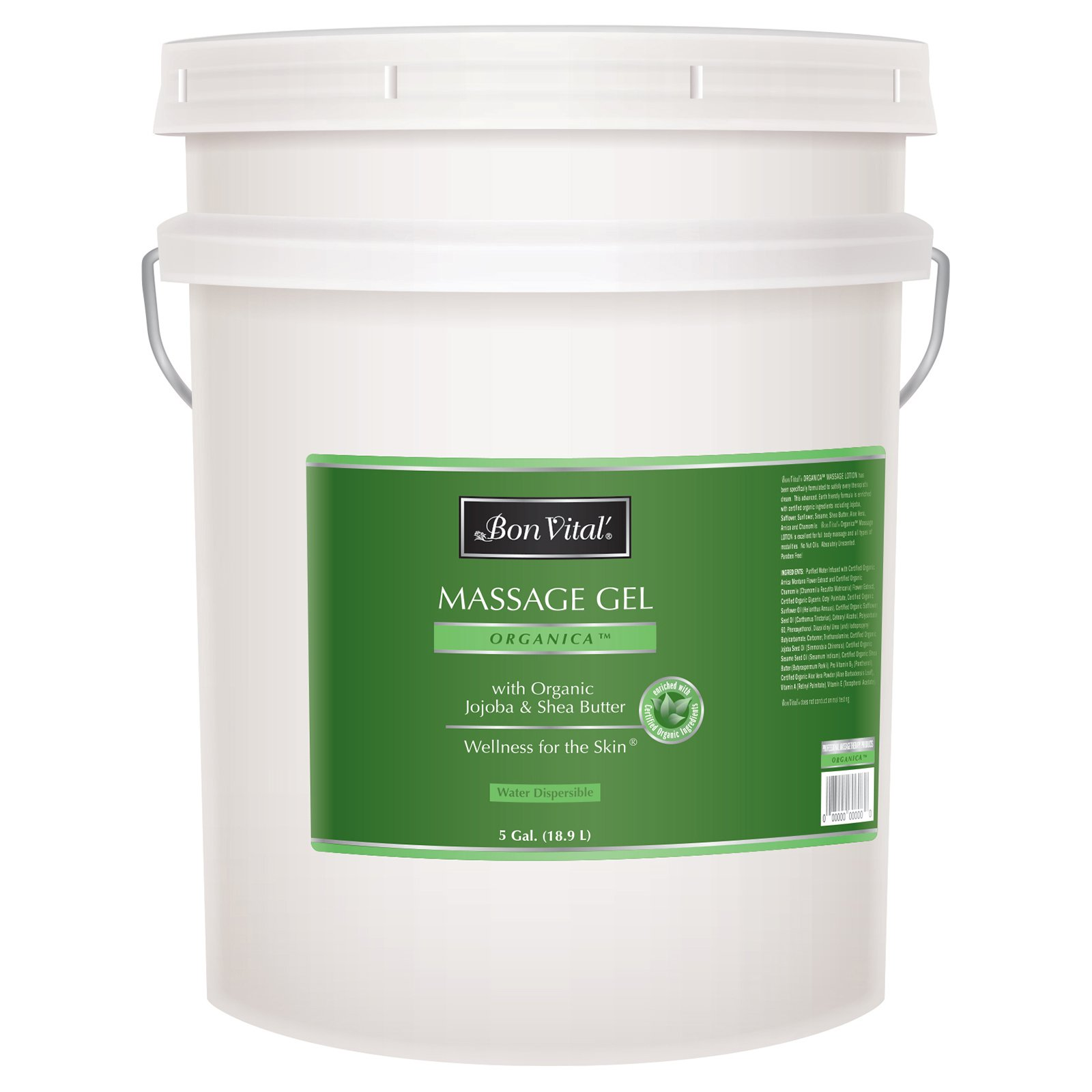 Bon Vital' Organica Massage Gel Made with Certified Organic Ingredients for Earth-Friendly and Relaxing Massage, Moisturizer for Natural Massage that Hydrates and Softens Skin, 5 Gallon Pail