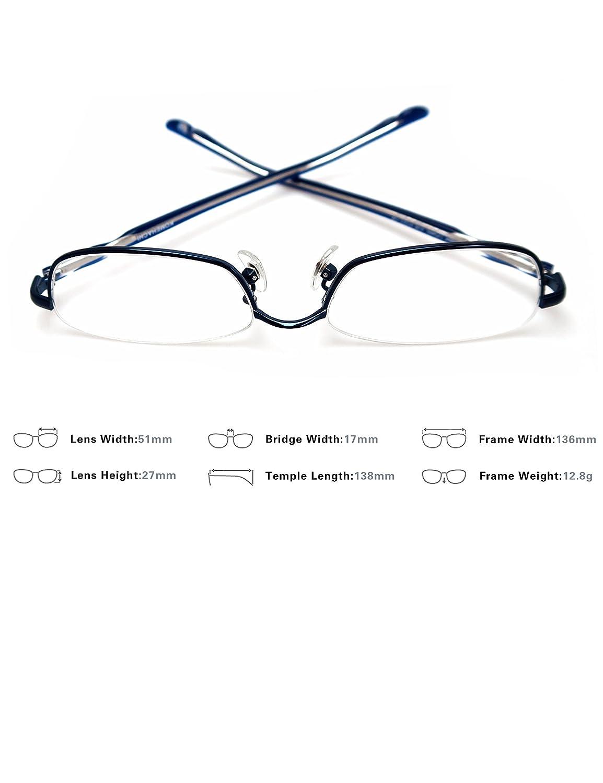 f1df4471e25c Komehachi - Rectangle Round Semi Under Rim Clear Lens Prescription  Eyeglasses (Blue(Rectangle)) at Amazon Women s Clothing store