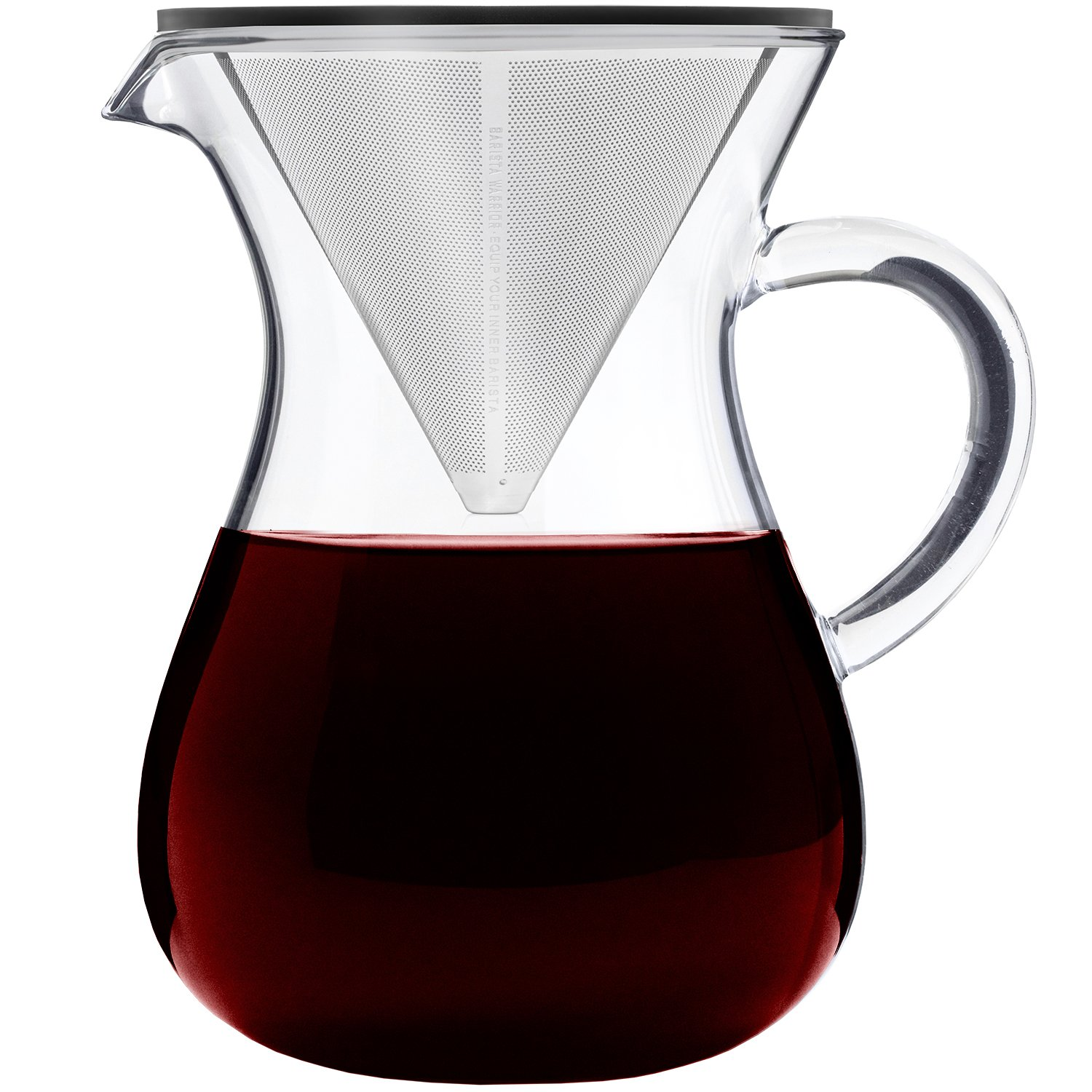 Pour Over Coffee Maker Set - 5-Cup (27oz | 800ml) - Large Drip Coffee Maker - Glass Carafe with Permanent Filter