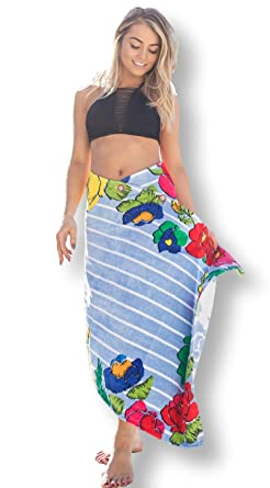c0bb57e2f6d57 Simple Sarongs Women s Beach Towel Swimsuit Cover-up Wrap All-in-One Floral
