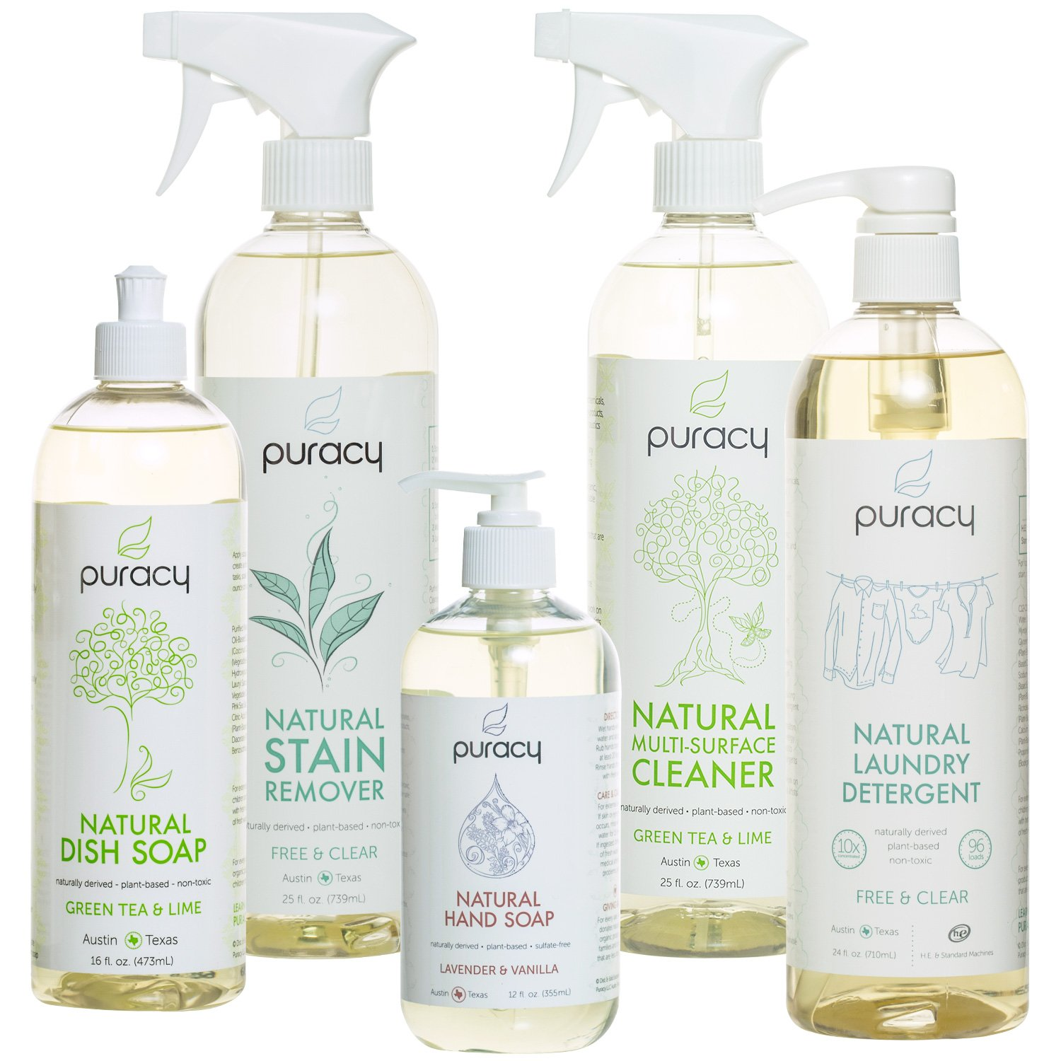 Puracy Natural Home Cleaning Essentials Set - Hand Soap, Dish Soap, Laundry Detergent, Multi-Surface Cleaner, Laundry Stain Remover Bundle - Pack of 5 by Puracy   B00HQLFHVI