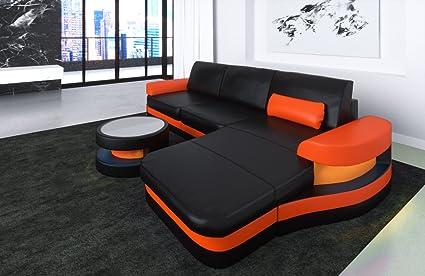 Sofa Dreams Divano Modena in Pelle, Forma L, Colore: Nero/Arancione ...