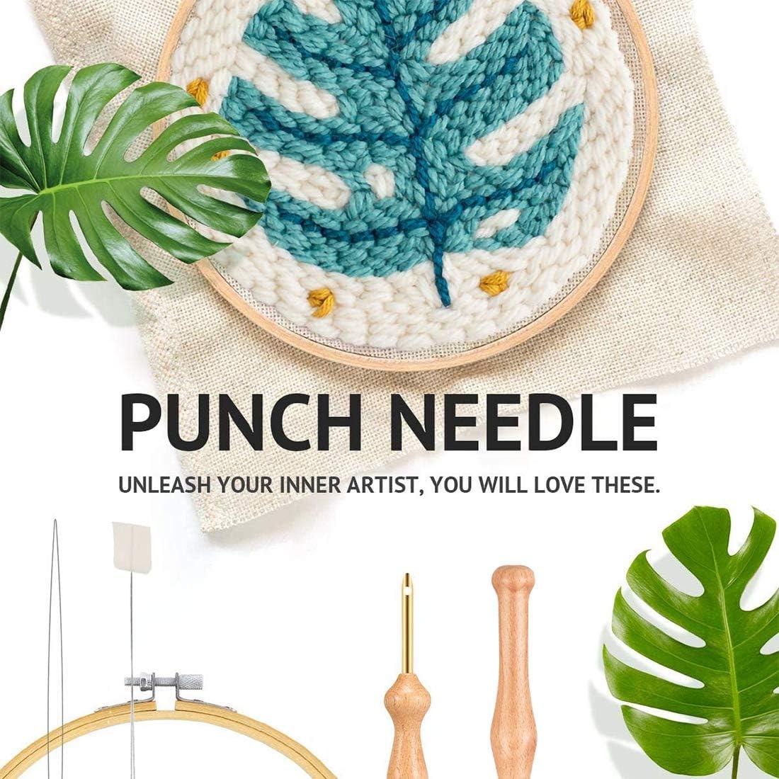 Punch Needle Embroidery Kit Needle Weaving Tools for DIY 4 Needles + 4 Needle threaders