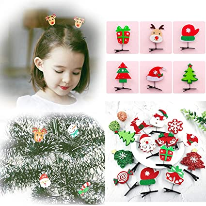 Kids Cute Christmas Santa Claus Hairpin Girl Xmas Tree Hair Clip Headdress-WI