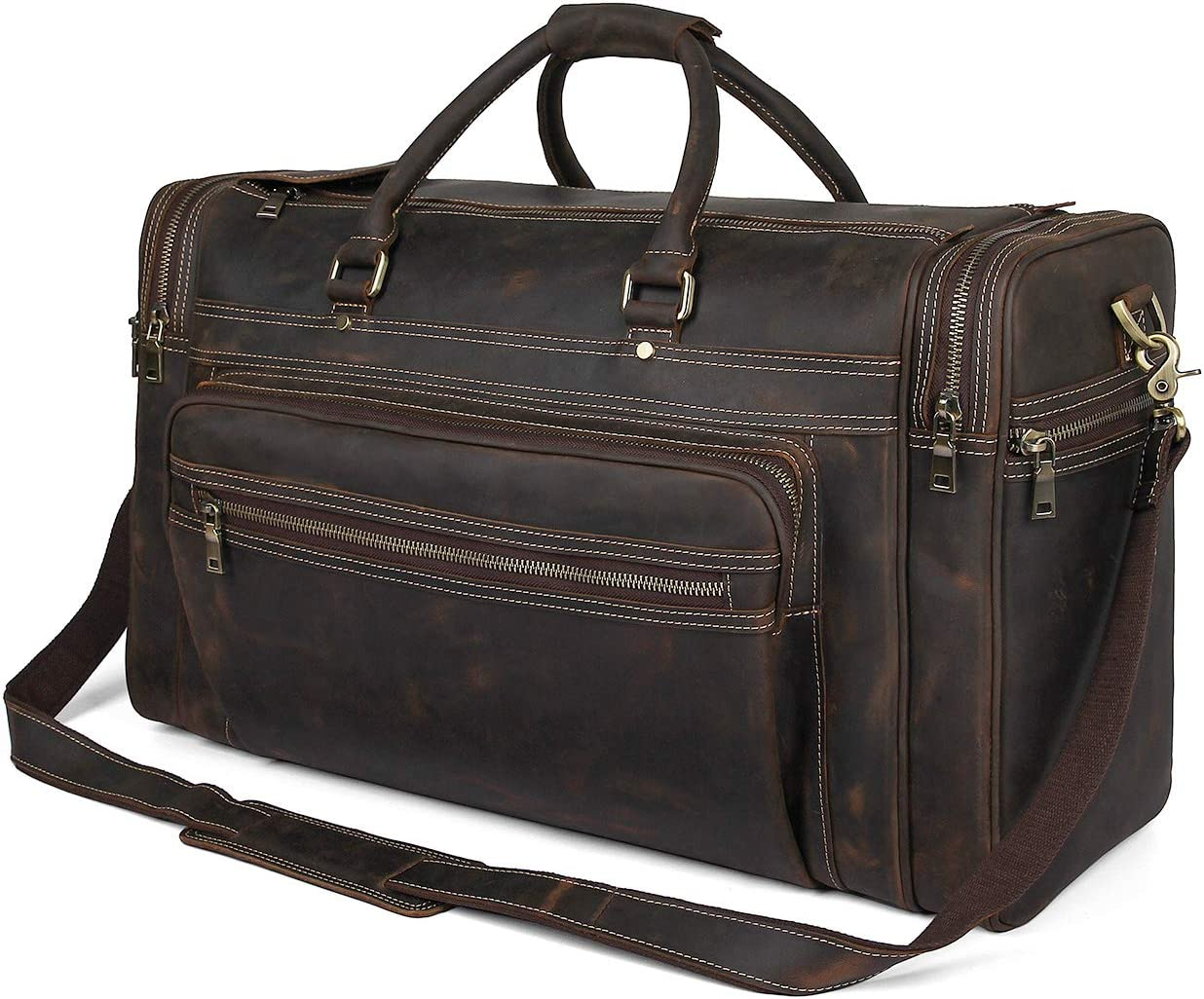 Texbo 24 Oversized Travel Duffle Luggage Bag Mens Full Grain Thick Cowhide Leather Weekend Overnight bag