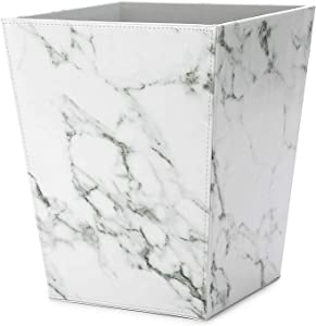 WV Faux Leather Trash Can Wastebasket Faux White Marble Pattern for Home& Office (White Faux Marble)
