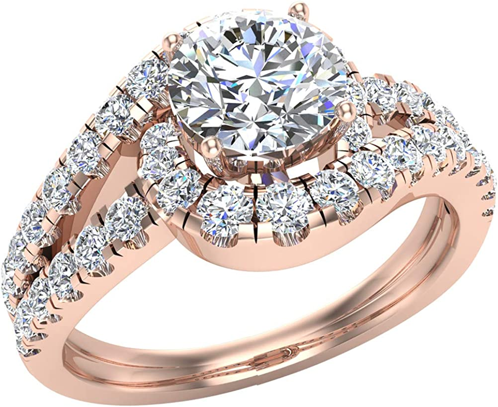 Amazon Com Engagement Rings For Women 14k Gold Diamond Rings Ocean Wave Style 1 25 Carat T W Jewelry