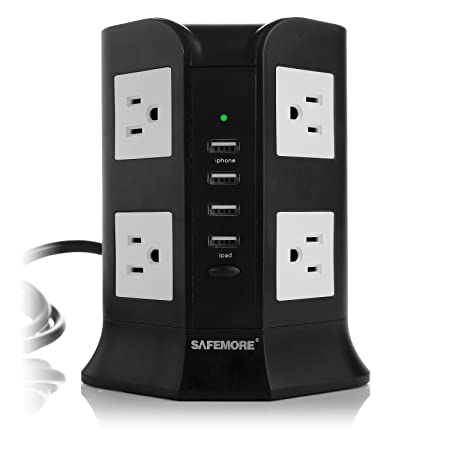 Safemore 8-AC Outlets Power Strip with 2.1A 4 USB Charging Ports and 6.5-Feet Cord Black White
