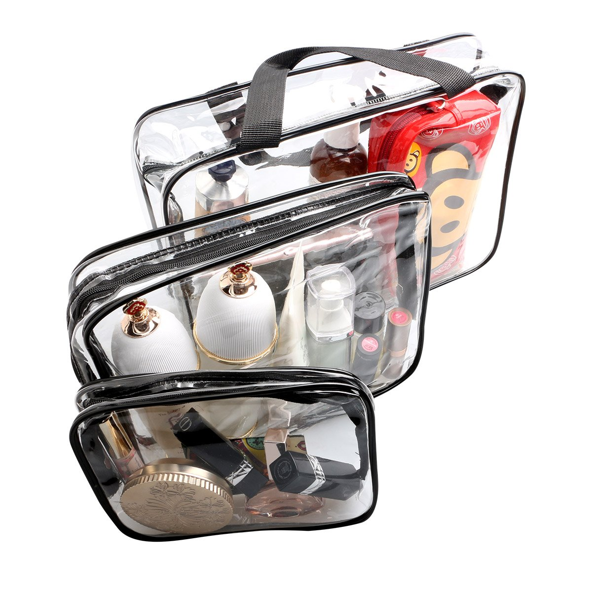 ESHOW 3 Set Clear Packing Cubes, PVC Waterproof Multi-function Hand Pouch Tote Bag Makeup Bag with Zipper and Travel to Buggy Bag for Toiletries Cosmetic and Bathroom Accessories (black) by WIFUME (Image #3)