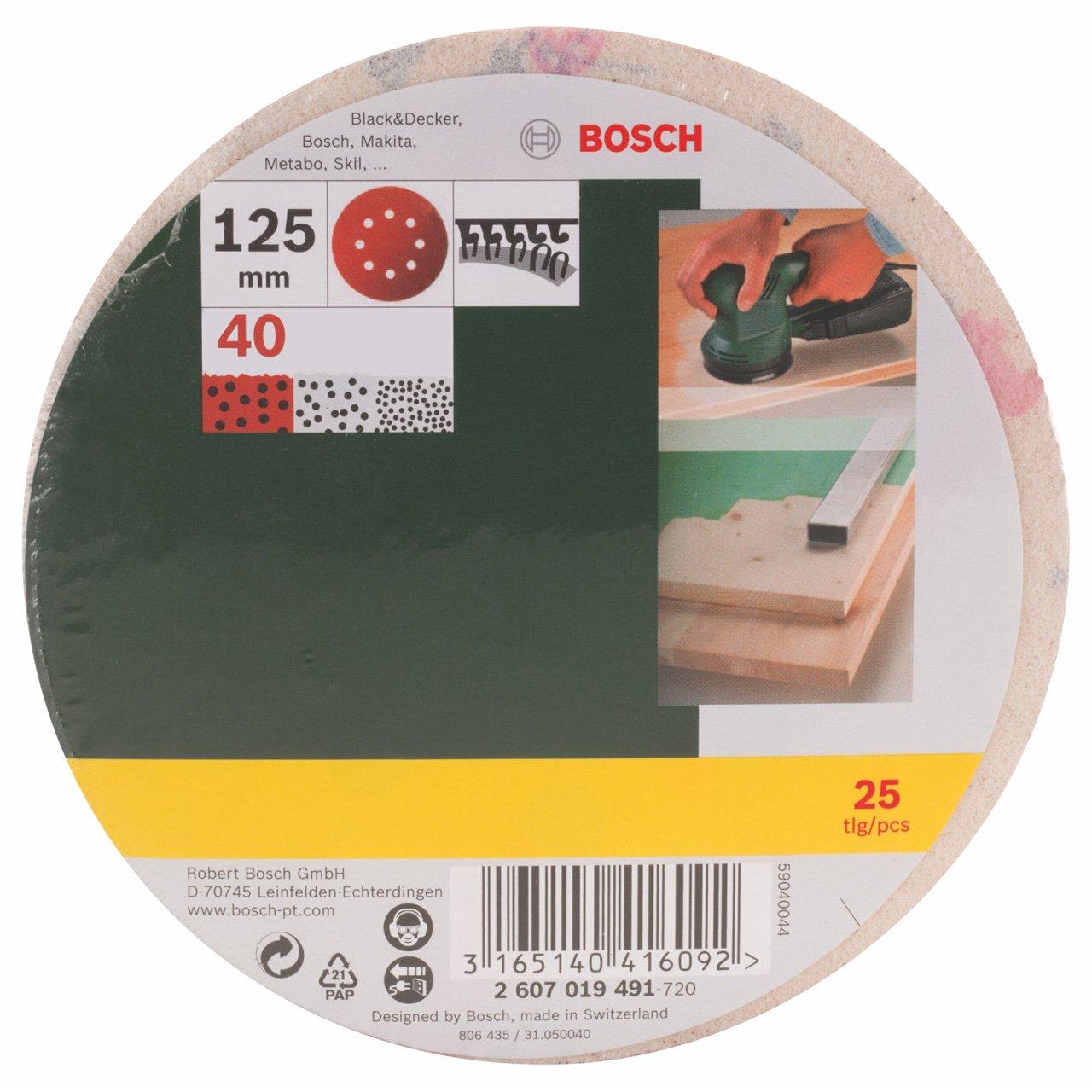 Bosch DIY Schleifblatt verschiedene Materialien für Exzenterschleifer (25 Stück, Ø 125 mm, Körnung 40) Ø 125 mm Körnung 40) 2607019491