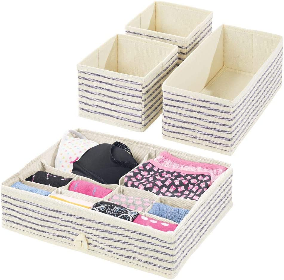 Bedroom Storage Units For Drawer Organisation Fabric Storage Bins With Striped Pattern For Clothing And Accessories Natural Blue Mdesign Set Of 8 Wardrobe Storage Boxes