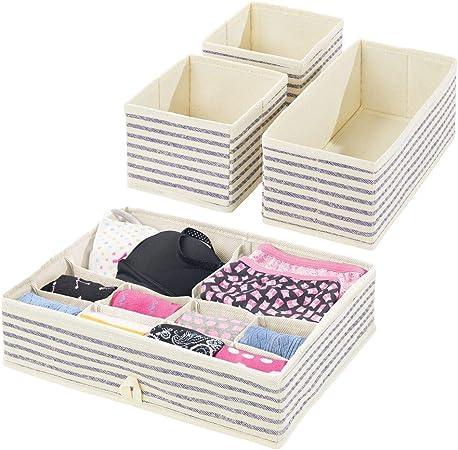 mDesign Juego de 4 cajas organizadoras – Cestas de tela para almacenaje en cajones de diferentes tamaños – Organizadores para armarios para guardar calcetines, ropa interior y más – crudo/azul: Amazon.es: Hogar