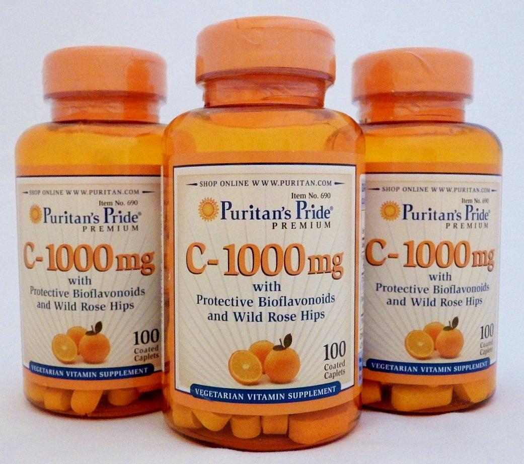 ビタミンC-1000mg100錠!ビタミンC&ローズヒップ!美白美容に3個 B008CQQ2GA