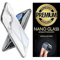 Cekuonline® Huawei Honor Play Kılıf Lazer Kesim Şeffaf Silikon + Nano Glass Esnek Cam Ekran Koruyucu Film