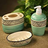 ExclusiveLane Handpainted Ceramic Bathroom Accessory Set of 3 (Liquid Soap Dispenser, Soap Dish, Toothbrush Holder) - Sea Green, White and Black