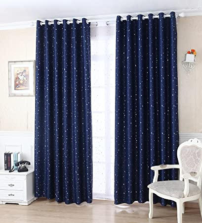 WPKIRA Window Treatments Short Curtains Grommet Room Darkening Stars Print  Navy Blackout Window Curtains Panels Drapes for Bay Window/Kid\'s Bedroom 1  ...