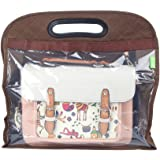 Pack of 3 Handbag Storage Anti-dust Cover Clear Hanging Closet Bags Organizer Purse(Brown)