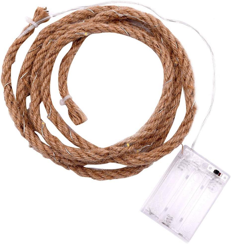 Luz de la cuerda de paja,CHshe❤❤,Producción de bricolaje,Cuerda de cáñamo natural Longitud 2M,Lámpara LED 20,Lámpara Blanco cálido,Material de cuerda de cáñamo + plástico