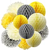 Furuix Tissue Paper Pom Pom Yellow Grey Cream Tissue Paper Honeycomb Balls Paper Lanterns for Bridal Shower Birthday Decorations /Wedding Party Decor You Are My Sunshine Baby Shower Decorations