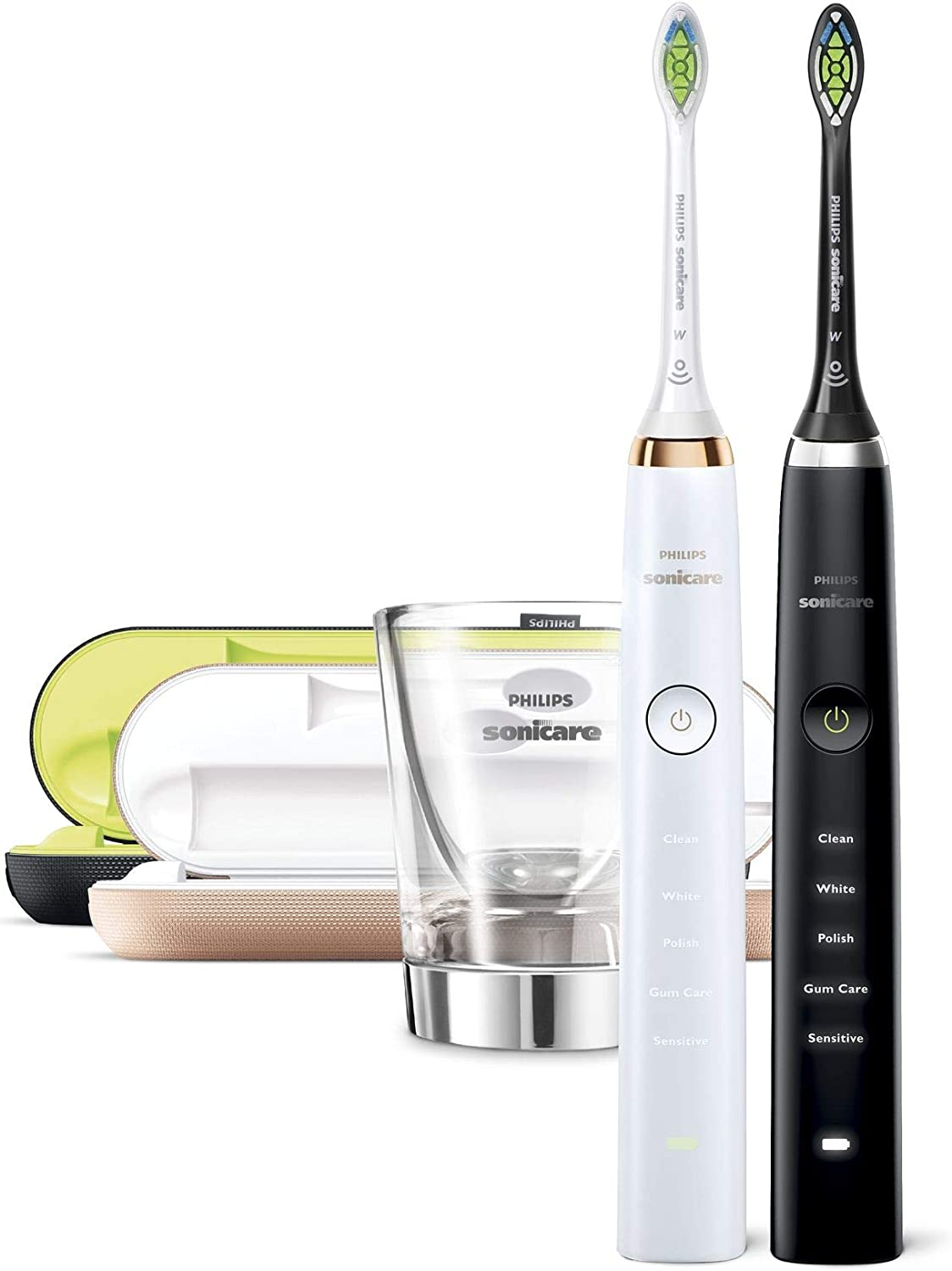 Philips Sonicare DiamondClean Electric Toothbrush Dual Handle Pack, Black with USB Charging Travel Case and Charging Glass (UK 2 Pin Bathroom Plug)