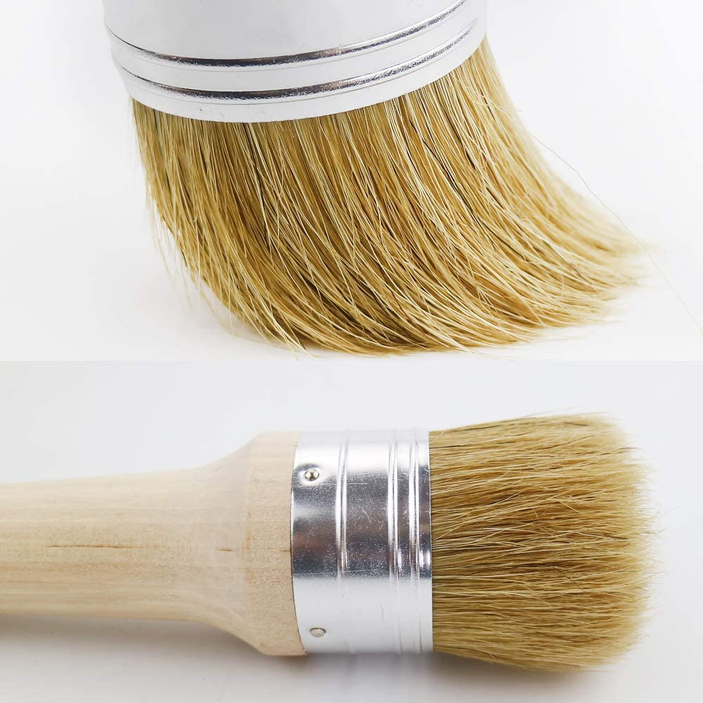 Natural Pure Bristles Painting or Waxing Round Home Decor Furniture Restoration Projects Abimars Chalk Paint /& Wax Brush Set