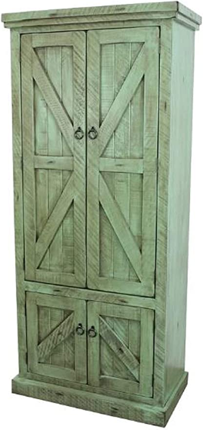 Kitchen Pantry Storage Cabinet Zimmerman 75 Kitchen Pantry Storage Cabinet Rustic Barn Style Design Made From Solid Birch Wood With Adjustable And Removable Shelves Rustic Aquamarine Amazon Ca Home Kitchen