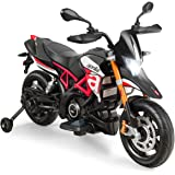 Costzon 12V Kids Motorcycle, Licensed Aprilia Electric Motorcycle Ride On Toy w/ Training Wheels, Spring Suspension, LED…