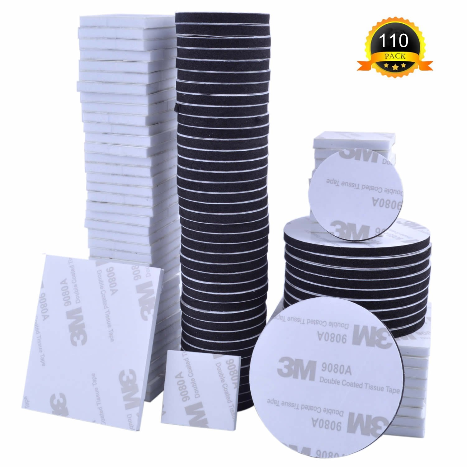 Double Sided Sticky Pads, 110 Pcs White Black Rectangle Square Round Double Sided Foam Sticky Pads, (4 Sizes, 25mm, 45 * 55mm, 30mm, 50mm) euhuton