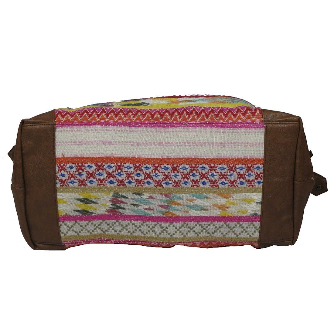 Raj Pink Multi Ethnic Print Duffle Bag Weekender with Leather by Raj Imports (Image #4)