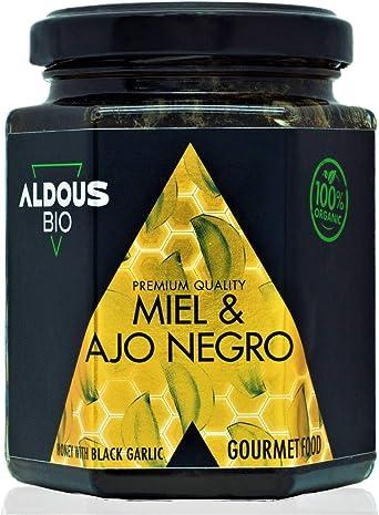 Auténtica Miel Ecológica con Ajo Negro ecológico | Producto Gourmet de Calidad Premium | 100% Natural y Artesanal | Sin Azúcar Añadido | Producida en España | Certificación ecológica oficial | 240g: Amazon.es: Alimentación y bebidas