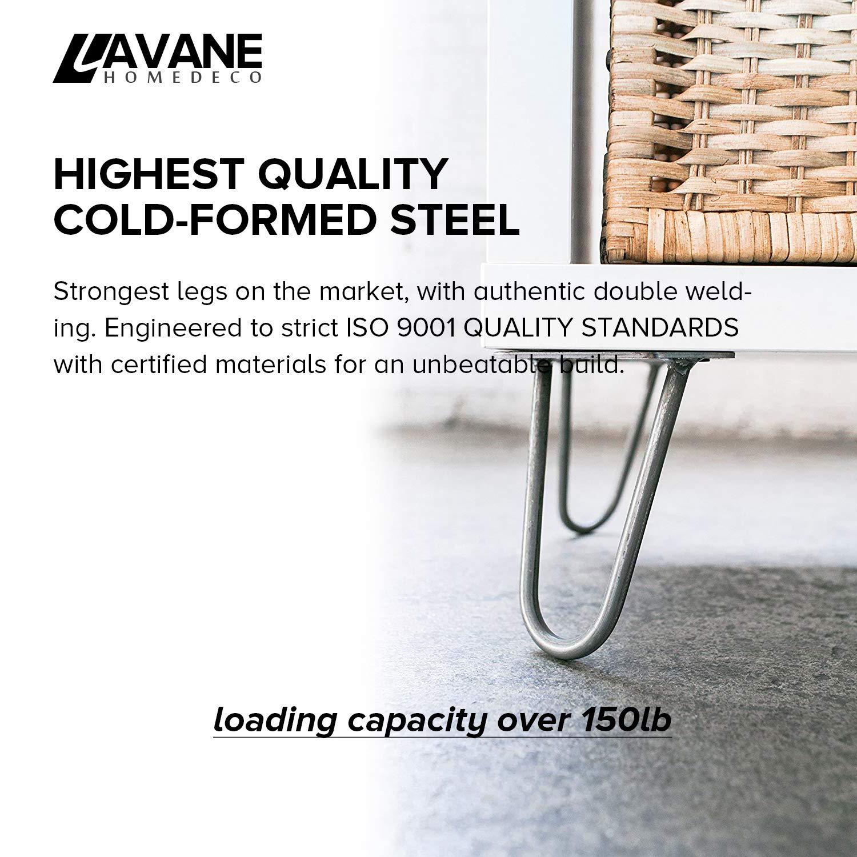 Patas de mesa Hairpin La Vane 4 unidades de patas de metal modernas para muebles de bricolaje con protectores de piso y tornillos para mesa de caf/é y mesa de final de soporte de TV