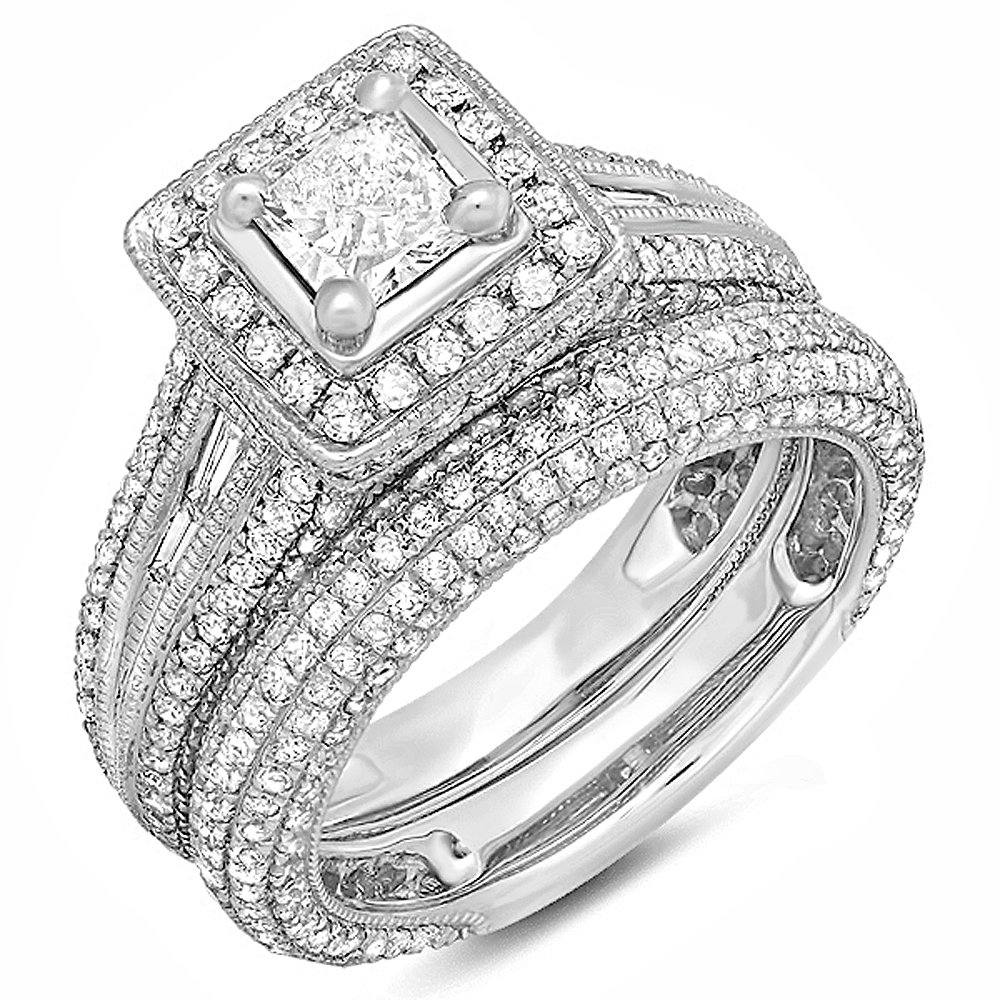 2.30 Carat (ctw) 14k White Gold Princess and Round Diamond Ladies Halo Style Bridal Engagement Ring Set With Matching Band 2 1/3 CT (Size 6) by DazzlingRock Collection
