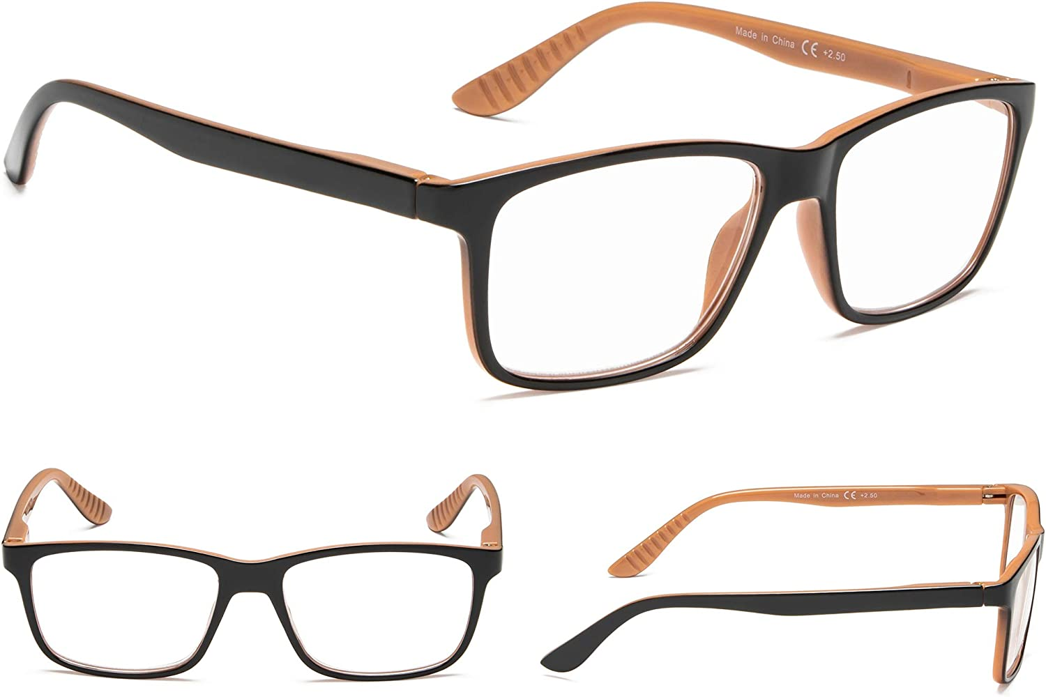 5 Pack Reading Glasses Classical Frame with Spring Hinges
