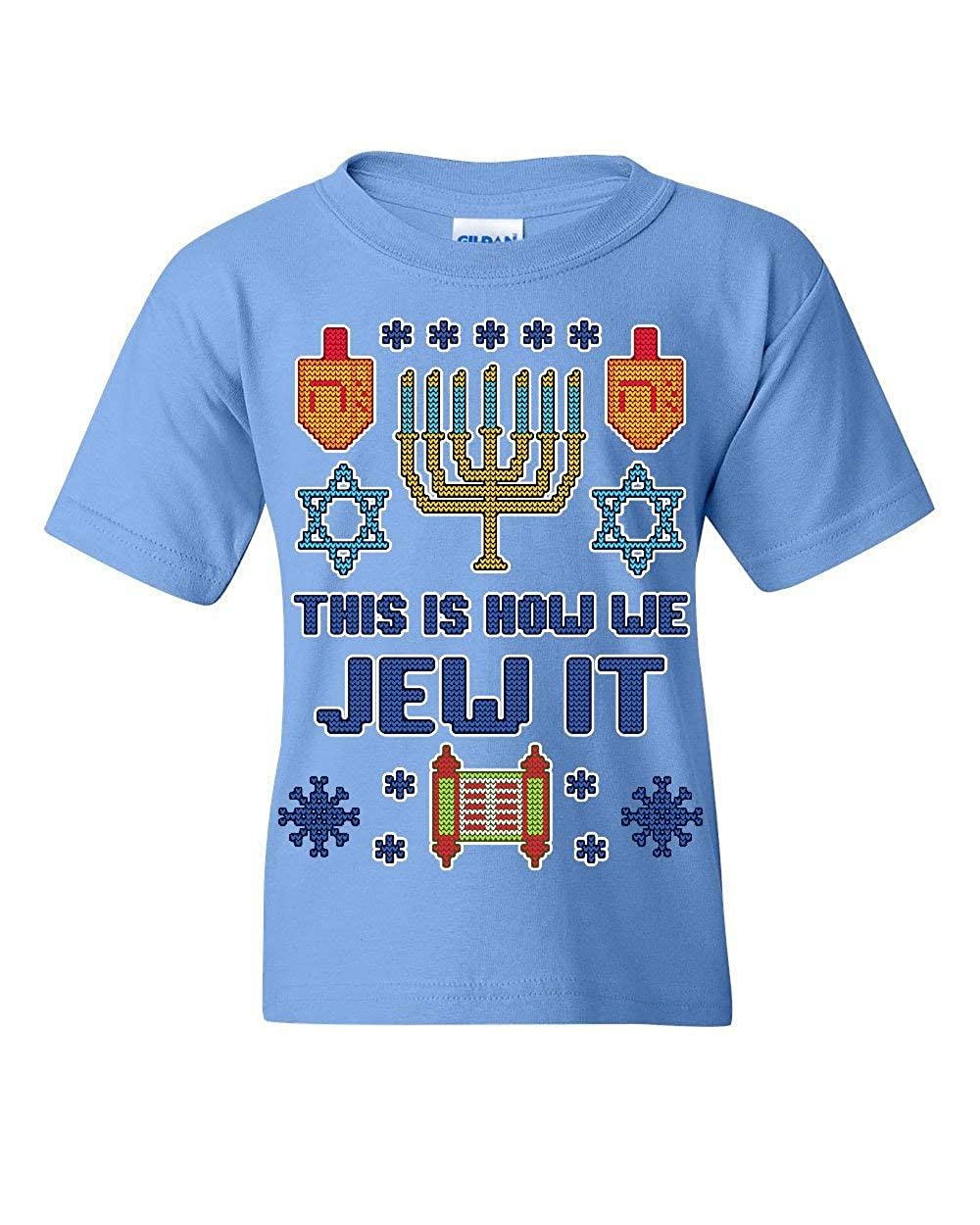 This is How We Jew It Ugly Youth T-Shirt Hannukah Torah Menorah Funny Kids Tee
