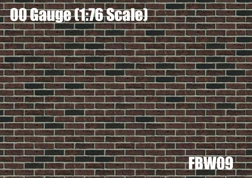 2 pcs Brown Brick Wall Wallpaper A4 Paper Sheet 00 Gauge/1:76 Scale