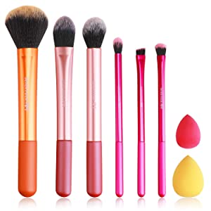 Makeup Brush Set, 6 pcs Makeup Brushes with 2 Beauty Blender, Eyeshadow Brushes Shader Blending, Foundation Brush Powder Kabuki, SEVEN FOUR AM