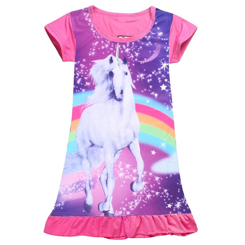 2Bunnies Girls Unicorn Star Rainbow Print Nightgown Nightie Princess Night Dresses