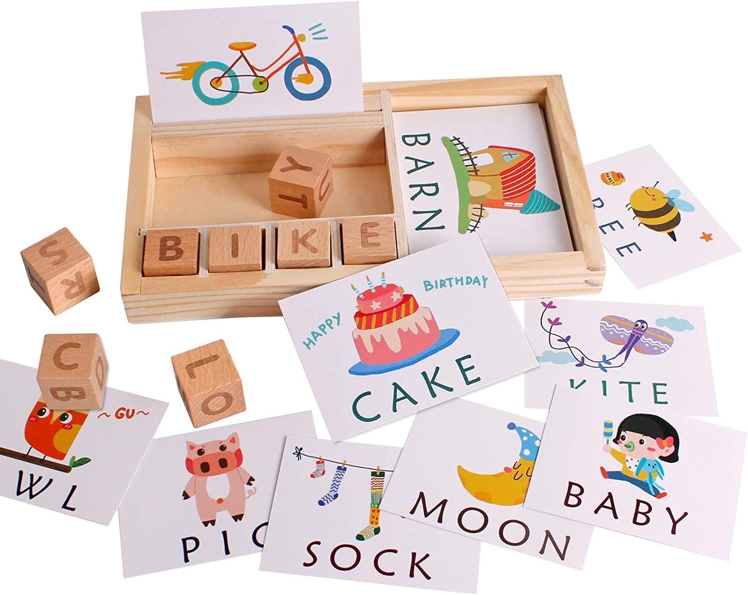 Matching Letters Toy Wooden Spelling Words Flash Cards Games, Alphabet ABC Learning Educational Montessori Puzzle Gift for Preschool Kids Boys Girls Age 3 4 5 Years Old