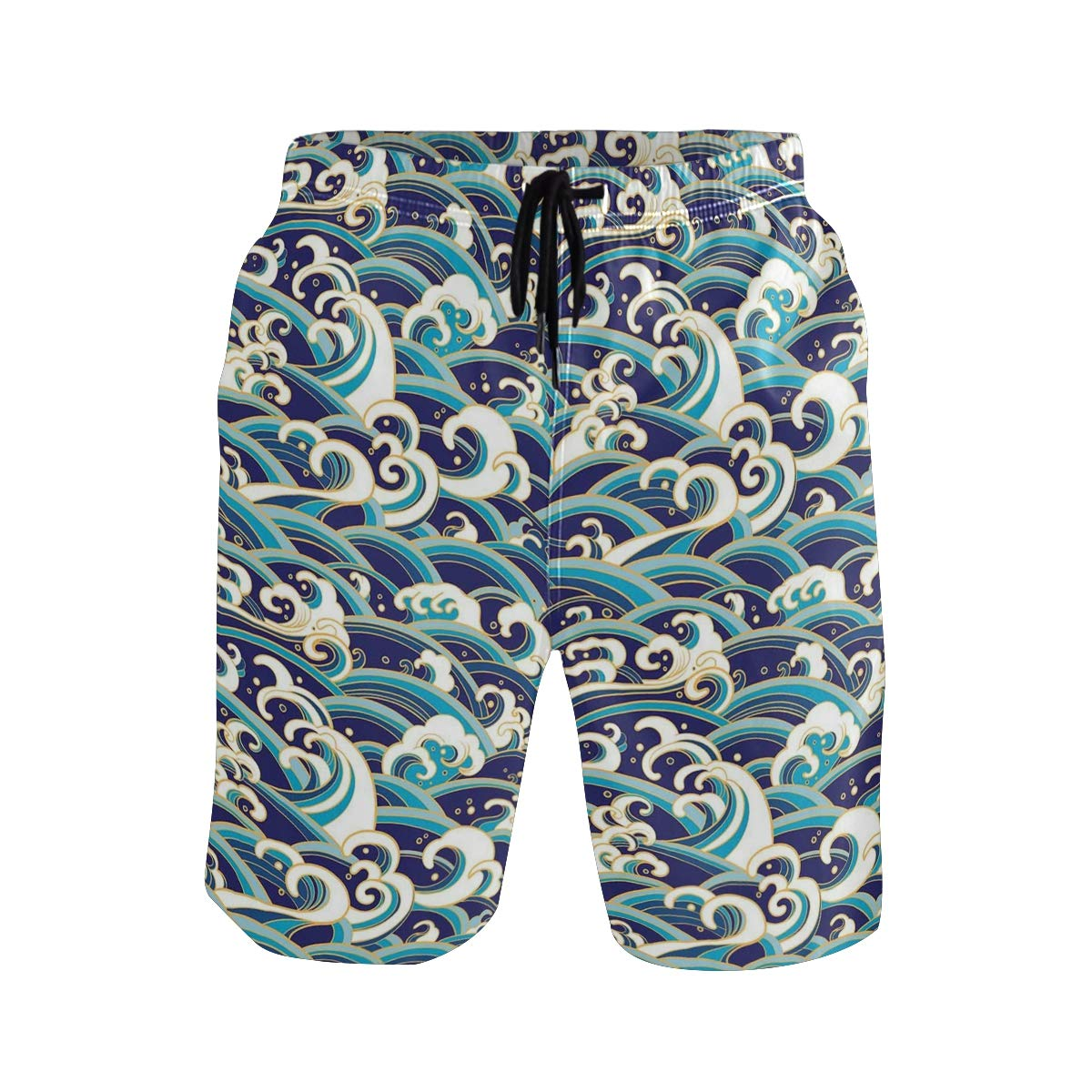 COVASA Mens Summer ShortsNautical Symbol with Wavy Ocean Background and Anchor