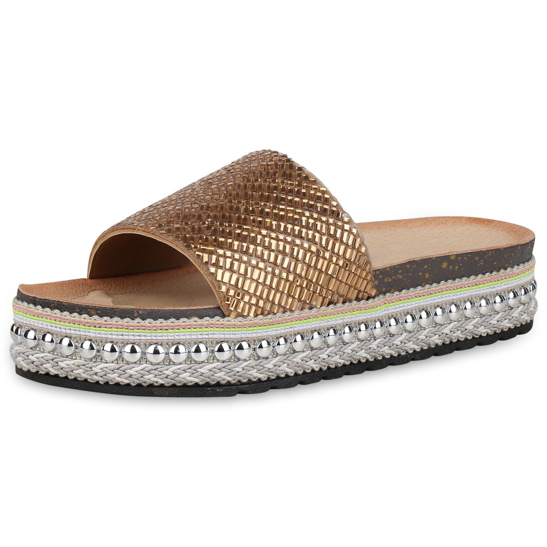 SCARPE VITA Damen Sandaletten Pantoletten mit Plateau Metallic Nieten  39 EU|Gold Nieten