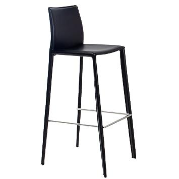 Exklusiver Design Barstuhl MILANO ECHT LEDER schwarz Barhocker ...