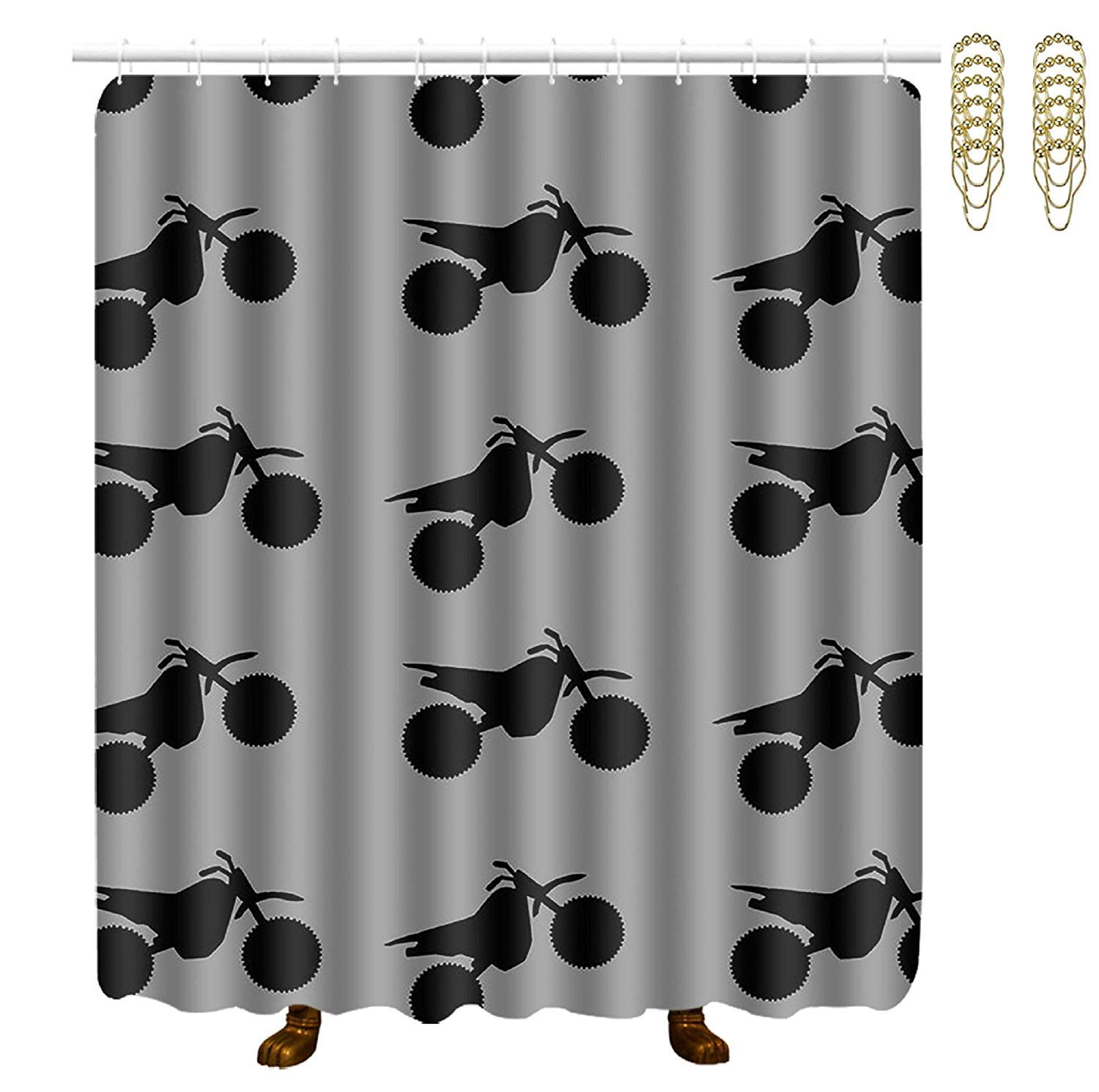 COVASA Decorative Water Repellant Shower Curtain 72x72 Inches Comes with 12 Hooks (Dirt Bike Black On Grey)