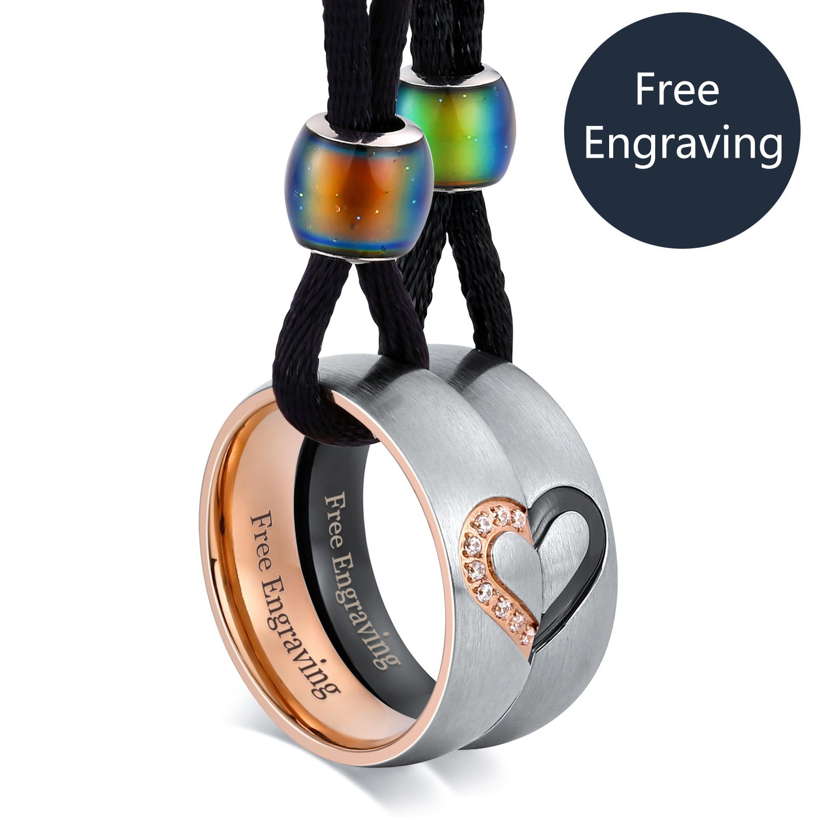 Aeici Jewelry Free Engraving Customized Necklace for Couple Stainless Steel Heart Matching Pendant Set CZ