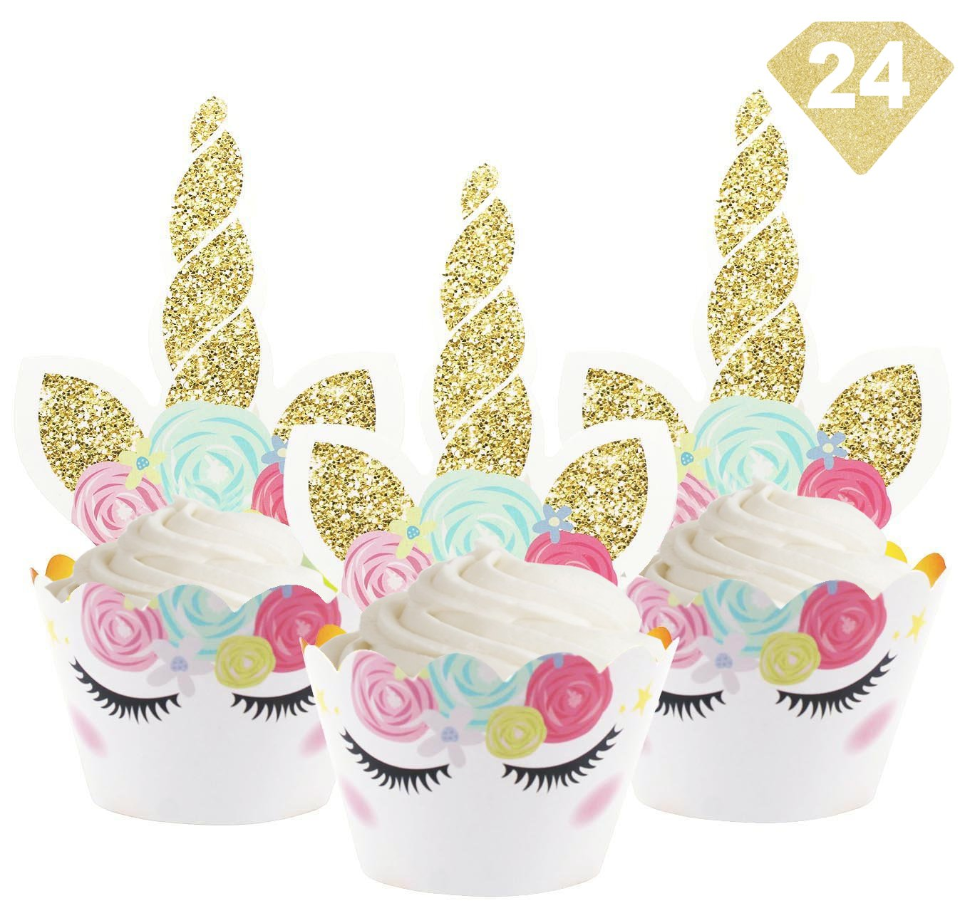 UNICORN MAGIC Unicorn Cupcake Toppers Wrappers - Golden and Rainbow Colors - Kids and Girls Birthday Party - Baby Shower - Party Decoration & Favors
