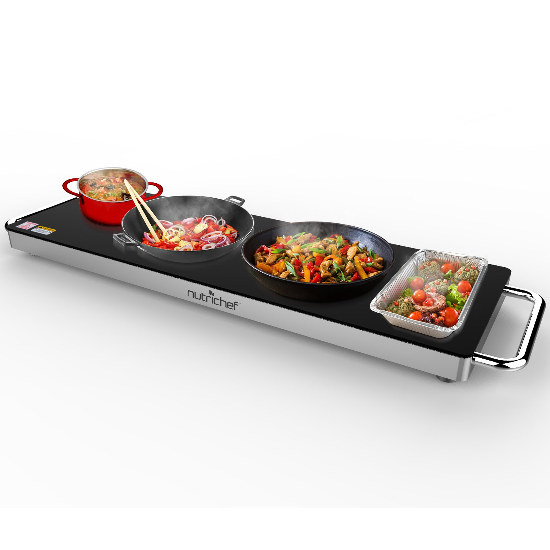 Portable Electric Food Hot Plate - Stainless Steel Warming Tray Dish Warmer w/ Black Glass Top - Keep Food Warm for Buffet Serving, Restaurant, Parties, Table or Countertop Use - NutriChef PKWTR40 by Nutrichef