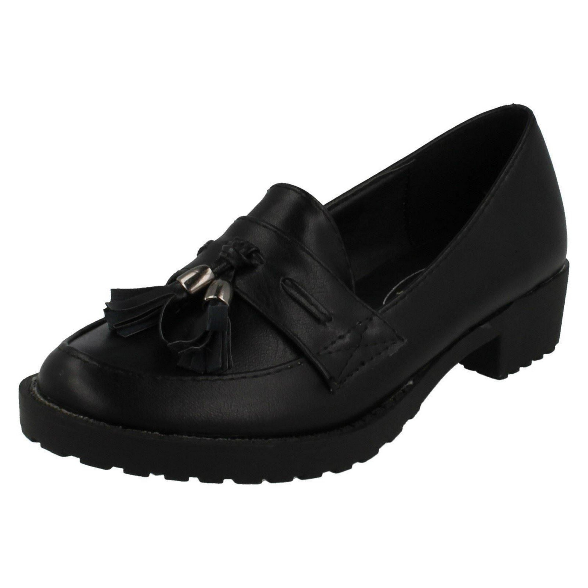 Spot On Childrens Girls Casual Tassel Trim Flat Loafers (US Size 1 Junior) (Black) by Spot On